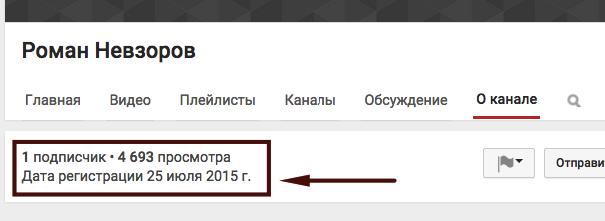 Дата регистрации канала Youtube